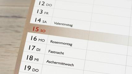 Kalender - Karneval - Rosenmontag - Fastnacht - Aschermittwoch