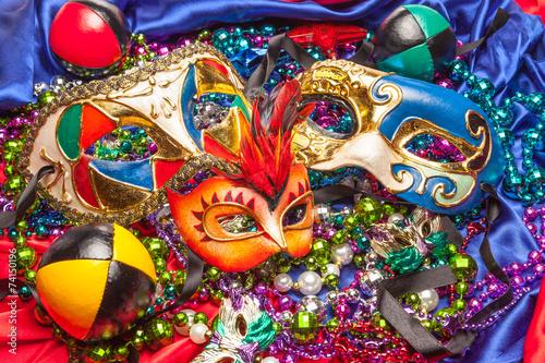 Canvas Carnaval Three Mardi Gras Masks and Beads
