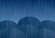 Vector umbrellas and rain drops
