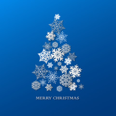 New year background with Christmas tree made of paper snowflakes