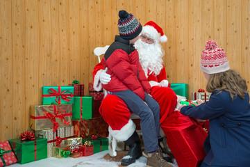 Children visiting Santas grotto