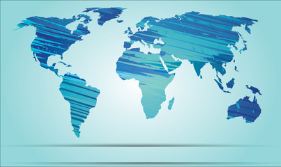 World map strokes blue EPS 10 Vector