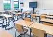 Empty classroom with tables and chairs - 74151721