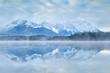 Karwendel mountain range reflected in lake