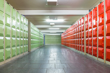 Corridor with lockers in school building