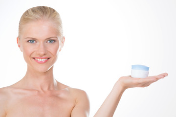 nordic girl with anti age cream