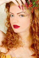 Beautiful curly hair woman