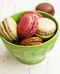 Raspberry, Pistachios and Coffee Macarons
