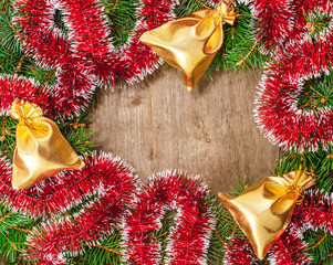 tinsel, gift bags, gold ball and spruce branches