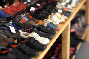 Men's shoes on the shelf