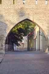 Rua, casas e muralha da cidade de Tallinn