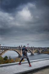 Girl photographs Bridge