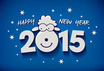 Happy new year 2015! Year of sheep. Vector Illustration
