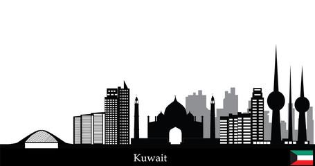 kuwait city skyline with bridge and modern buildings