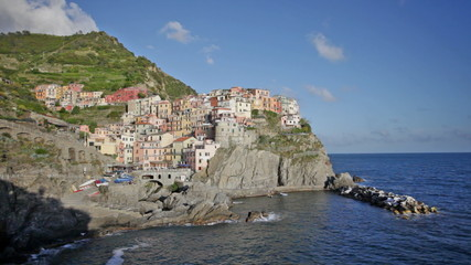 Picturesque view of Manarola, Laguria, Italy in sunny summer