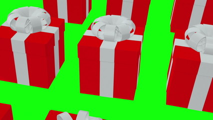 Red Gift boxes on a green background