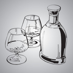 Vector draw illustration, bottle of brandy and two glasses