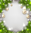 Christmas winter background with glass balls