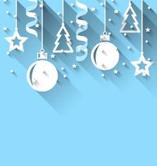 Christmas background with fir, balls, stars, streamer, trendy fl