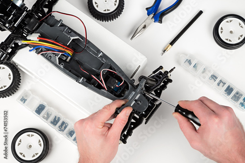 Leinwanddruck Bild rc car assembling