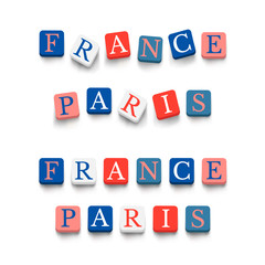 """Words """"france"""", """"paris"""" with colorful blocks"""