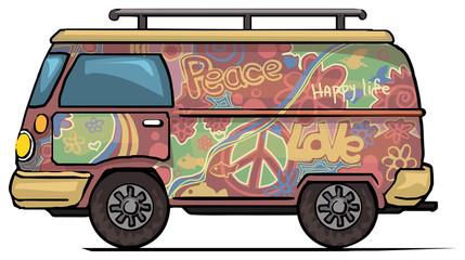 Classic vintage hippie van, bus, painted
