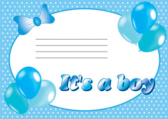 Blue baby shower invitation with balloons. it's a boy