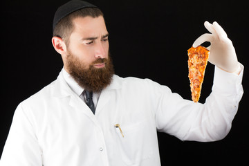 Bearded jewish doctor holding pizza.