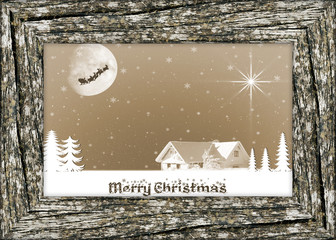 Christmas card with wooden frame