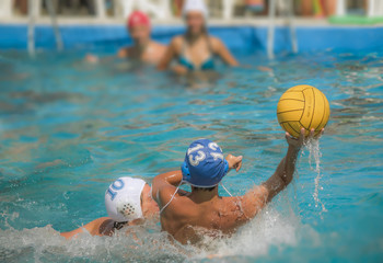 defenders players water polo match duel