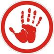 запрещающий знак с отпечатком красной ладони