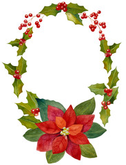 Watercolor Christmas wreath and seasonal decoration design eleme
