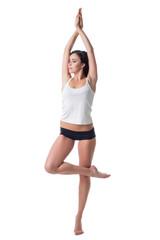 Image of beautiful slim woman exercising pilates
