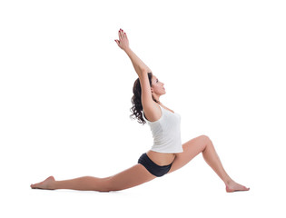 Attractive pilates trainer, isolated on white