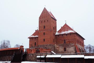 Trakai castle in winter with snow