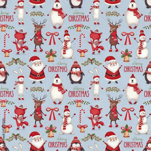 Watercolor christmas illustrations. Seamless pattern - 74155330