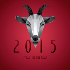 2015 New Year Goat on Red Background