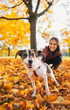 Closeup on dog on leash pulling young woman outdoors in autumn