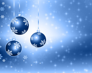 Best elegant Christmas background with blue baubles