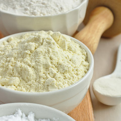 Gluten free millet flour in white bowl