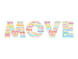 MOVE text relocation concept made with words cities names poster