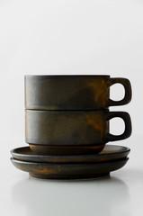 Brown coffee mugs