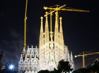 Sagrada Familia in dark time. Barcelona