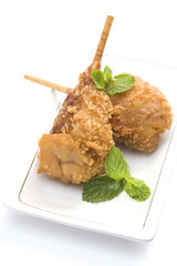 Vegetarian food, Breaded deep fried mushrooms garnished with min