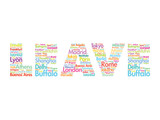 LEAVE text relocation concept made with words cities names poster