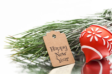 happy new year greeting message, christmas tree and ornament