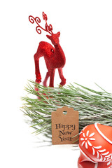 happy new year greeting message, christmas deer, christmas tree