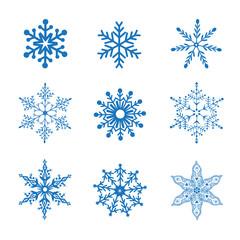 set of blue snowflakes