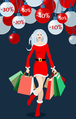 Illustration of a beautiful girl christmas shopping