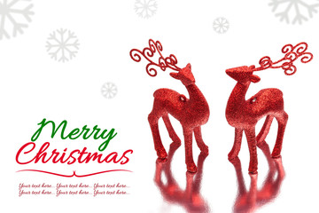christmas background with two red deer